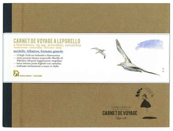 Carnet de voyage pagine bianche a leporello modello Albatros
